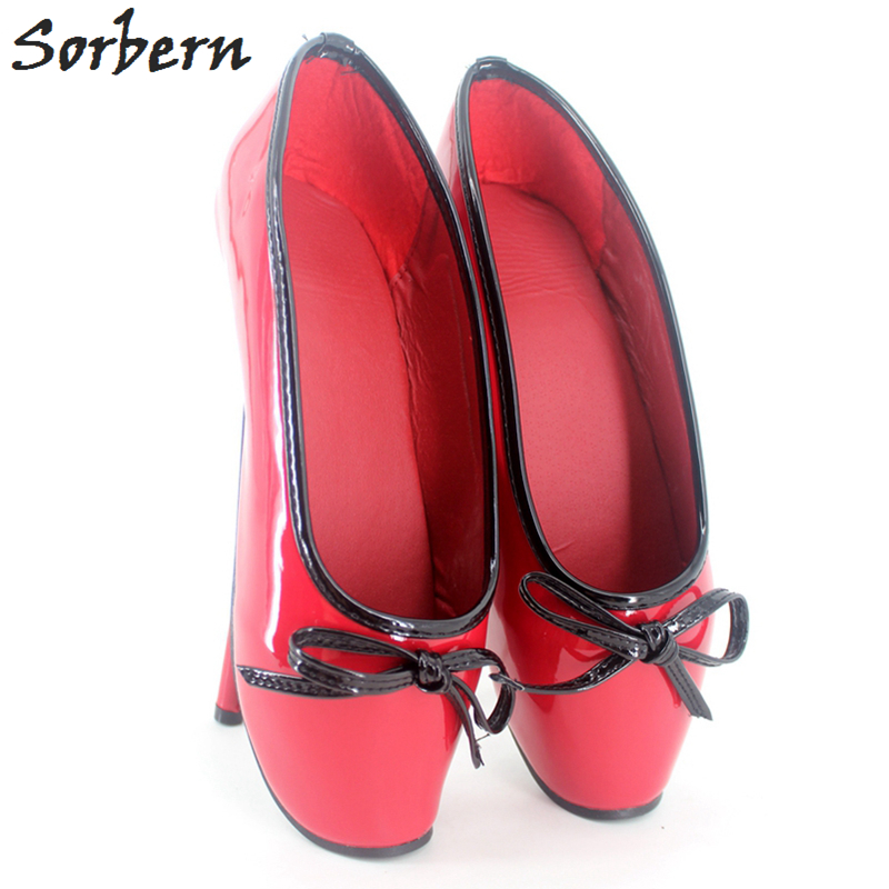 Sorbern Women Ballet Thin Heel Pumps Shoes Plus Size Bow Real Image Ladies Gay Unisex Dance Pump Real Image Large Size 36-46 ebsd image