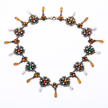 New Arrival Making Supplies Glass Antique Jewelry Fashion Women Gold Color Design Long Chunky Necklace