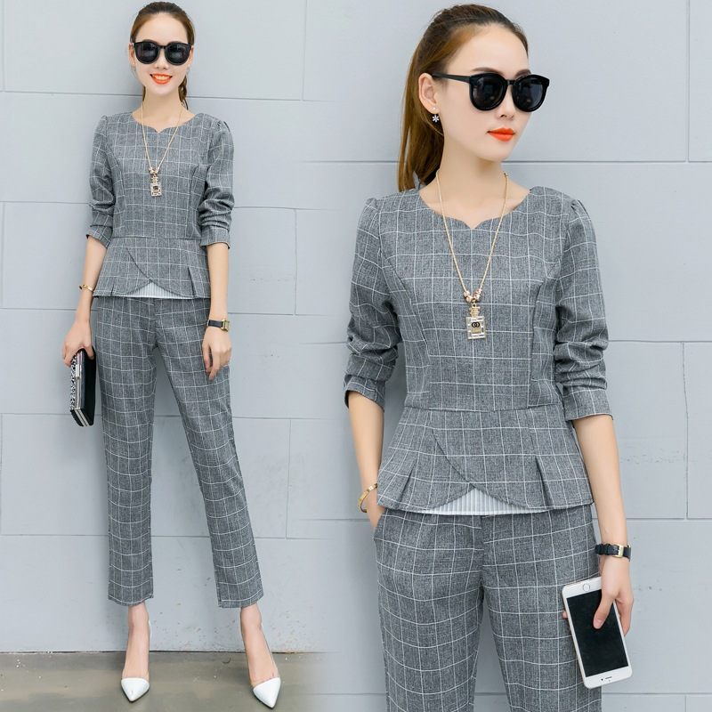 2017 Women Fashion Suits Autumn Elegant Vestidos Bussiness OL Women Suits Two Piece Shirt and Ankle Length Pants Sets Tracksuit