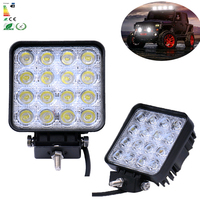 2Pcs 4inch 48W Car LED Work Light Bar As Square Spot Flood LED Offroad Light Lamp