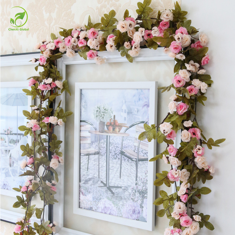 230cm wedding decoration fake silk roses ivy vine artificial flowers with green leaves hanging. Black Bedroom Furniture Sets. Home Design Ideas