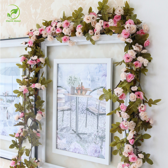 230cm Wedding Decoration Fake Silk Roses Ivy Vine Artificial Flowers With Green Leaves Hanging Garland For