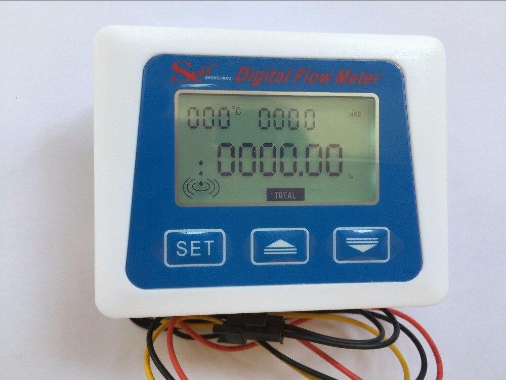 (Chegada nova) display LCD Digital medidor de fluxo de medição de temperatura senosr total de Litros Gal nova de ZJ-LCD-M modelo