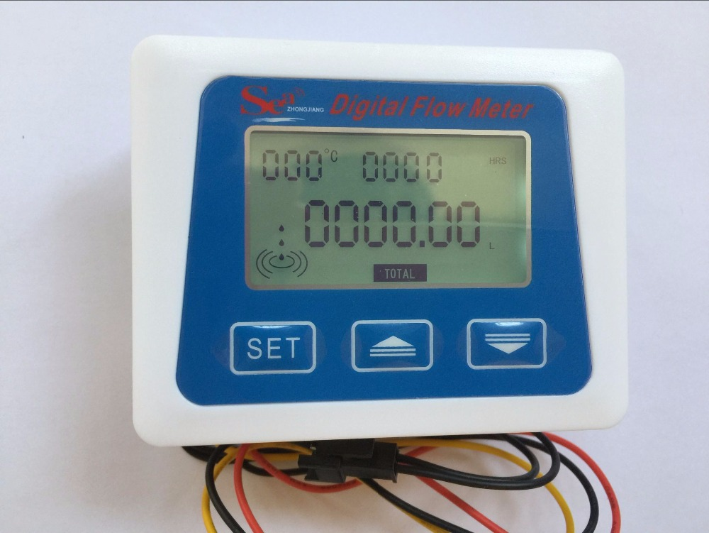 (New Arrival) LCD Display Digital Meter Temperature Measuring Flow Senosr Total Liter Gal New From ZJ-LCD-M Model
