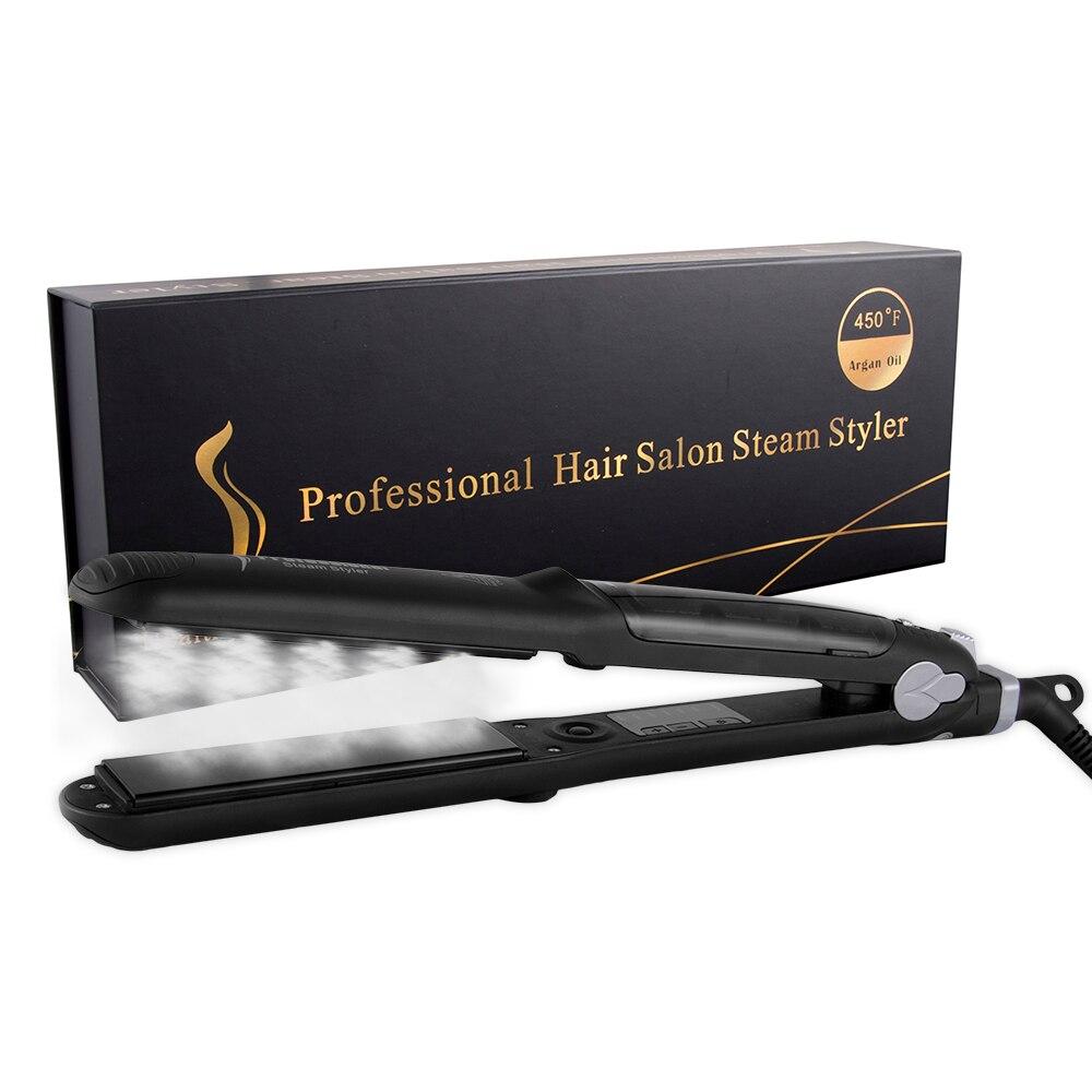 Professional Steam Function Flat Iron Tourmaline Ceramic Vapor Professional Hair