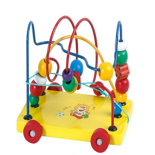 NEW Hot Baby Big Wooden Toy Around Beads Wire Roll Maze Colorful Educational Game Children Toy Christmas Birthday Gift