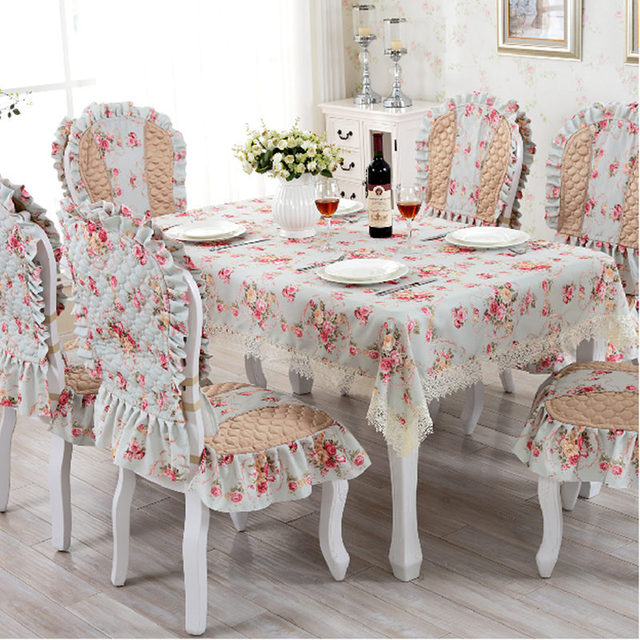 European Tablecloth Chari Cover Set Lace Elegant Print Dining Table Cloth Quilted Cushion Backrest Home
