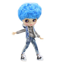 ICY factory blyth doll blue short hair boy doll male body with makeup face 1/6 30cm natural skin body white skin face(China)