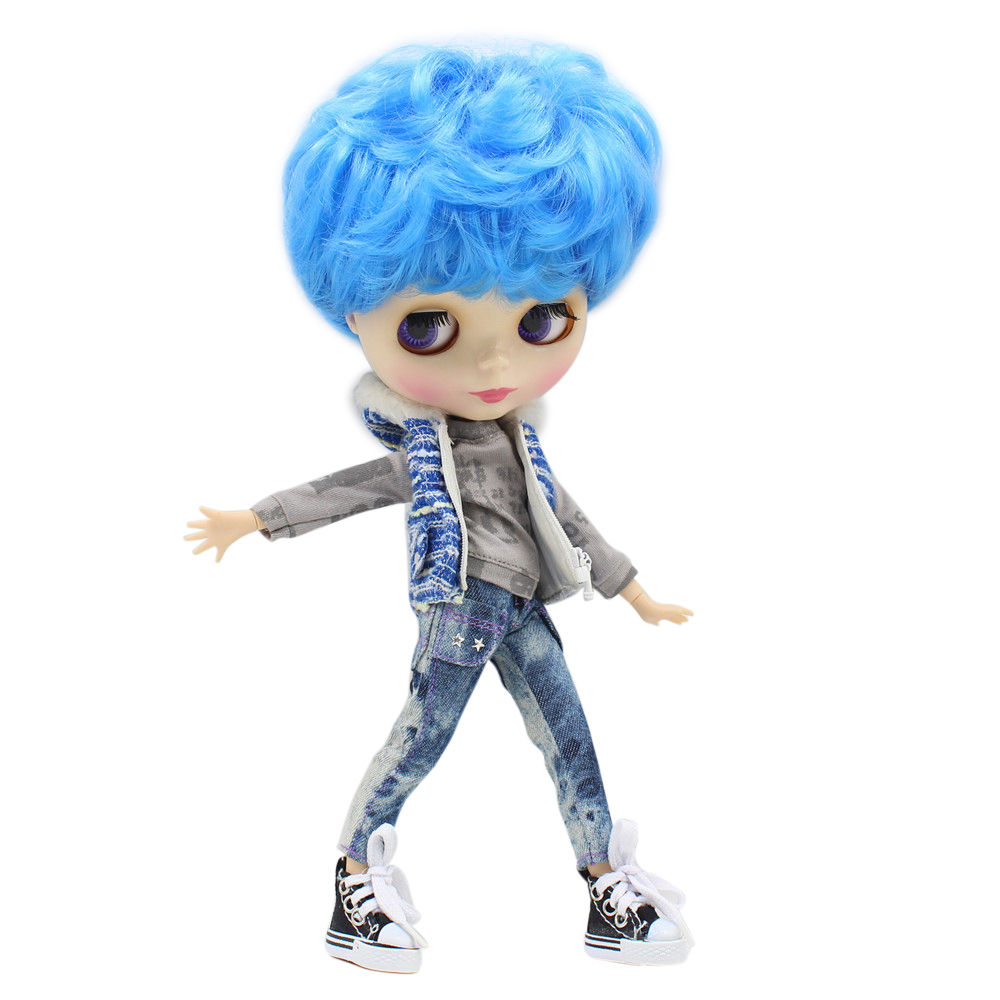 factory blyth doll blue short hair boy doll male body with makeup face 1/6 30cm natural skin body white skin face factory blyth doll custom your doll choose hair face body skin only one doll design your own doll