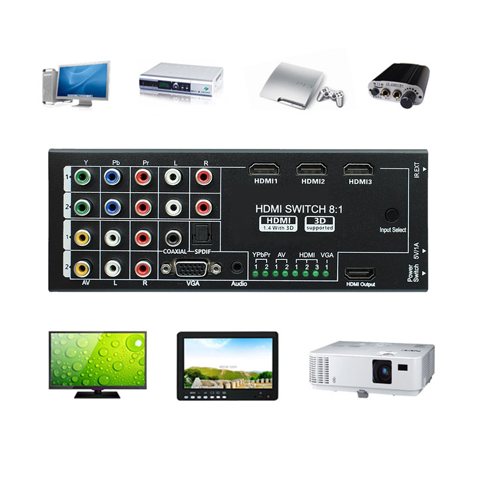 Alloyseed High Quality 5V DC Multi-Functional 8 Inputs to 1 HDMI Output Audio Extractor Video Audio Switch 8 inputs to 1 output multi function video audio adapter switch multi format switcher with remote controller ypbpr av vga