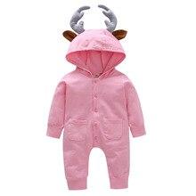 Для малышей, новорожденных, младенцев и малышей, одежда для маленьких мальчиков комбинезон с длинными рукавами и однотонные 3D с рогами оленя комбинезон, одежда для подвижных игр, комплекты одежды на возраст от 0 до 24 месяцев