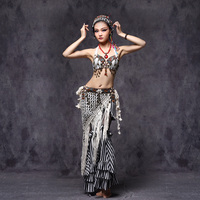 2016 Tribal Belly Dance Clothes 3pcs Outfit Sexy Embroid Tops Hip Belt And Pants Women Tribal