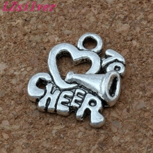 100pcs 16x17.5mm Antiqued Silver Alloy Cheerleader Heart to Cheer Charm Big Hole Bead Fit European Bracelet Jewelry