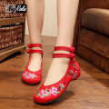 Plum blossom sexy red embroidery chinese shoes women fashion leisure canvas flats oxford shoes for women ladies shoes loafers