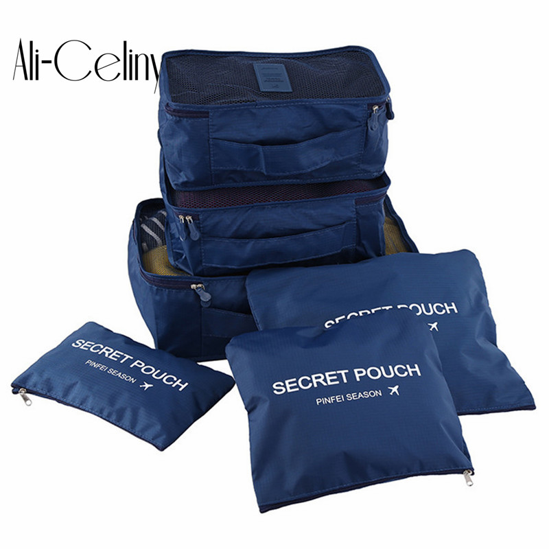 6pcs/set Fashion Double Zipper Waterproof Polyester Men And Women Luggage Travel Bags Packing Cubes
