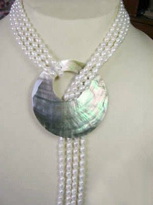 6 7MM White Akoya Cultured Pearl Necklace Shell Pendant 50''>Selling jewerly free shipping