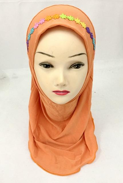 Muslim Kids Girls Amira Hijab Islamic Head Cover Shawl Scarf Arab One Piece Hat