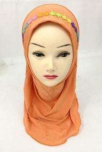 Image 3 - Muslim Girls Hijab Kids Wrap Shawl Islamic Head Scarf Amira One Piece Hijab Cap