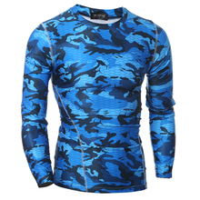 2018 Compression Shirt Long Sleeves Tshirt Compression Shirt Fitness Clothing Camouflage Colorquick Dry Bodybuild Crossfit XXL