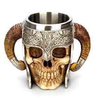 Viking Ram Horned Pit Lord Warrior Stainless Steel Skull Mug Beer Goat Horn Resin Tankard Coffee Mugs Halloween Bar Gift Tea Cup 3