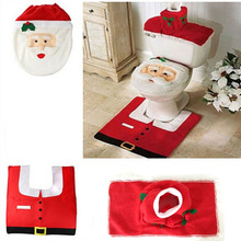 Free shipping 3Pc/Set Christmas Santa Claus Bathroom Toilet Seats Cover Christmas Decoration