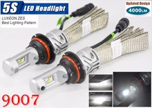 1 Set 9007 HB5 50W 5000LM 5S LED Headlight LUMILED LUXEON ZES 24LED SMD Chips Fanless 6500K Hi/Low Beam Driving Fog Lamps Bulbs