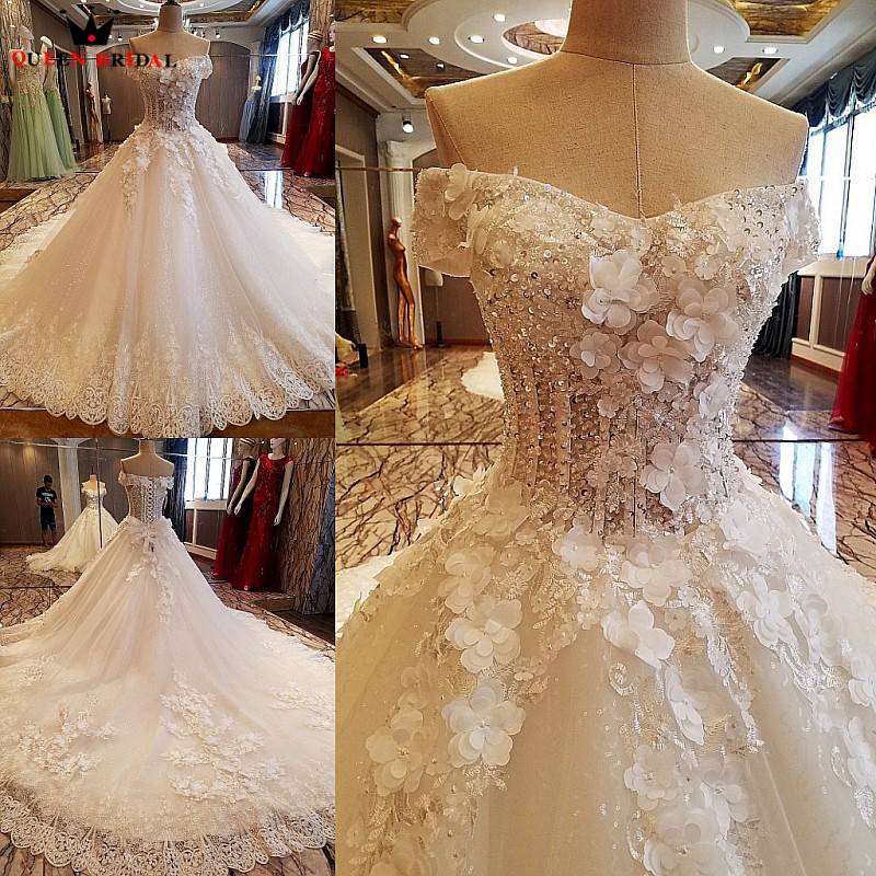Fluffy Ball Gown Lace Crystal Flowers Long Formal Luxury Vintage Wedding Dresses Real Photos Wedding Gown