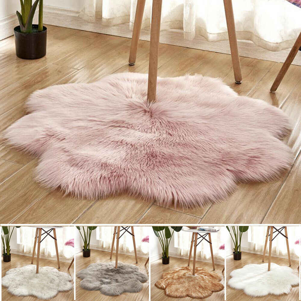 Plum Blossom Shaped Soft Fluffy Bedroom Faux Fur Fake Wool Sheepskin Rugs Warm Hairy Dining Room Home Carpet Anti-Skid Floor Mat