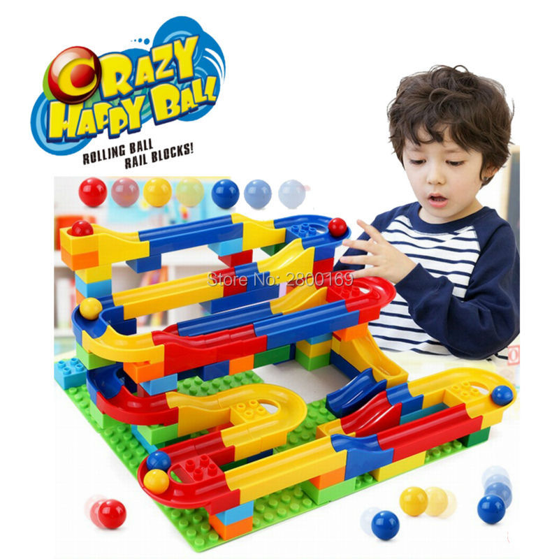 DIY Construction toy set Marble Race Run Maze Balls rack crazy Building Blocks ball Game Educational toys for children