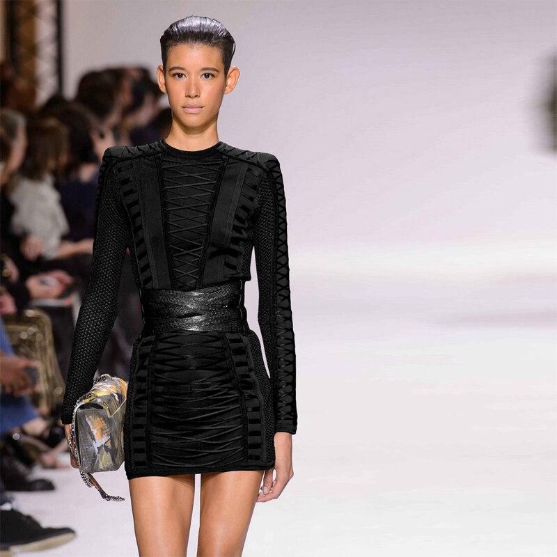 Classique Longues Noir Avec Robe Up Tenue De Collection Femmes Bandage  Manches Défilé Dseign Mode Dentelle ... a7b2c34bf5b