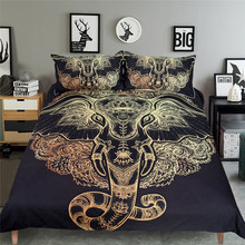 Tribal Elephant Bedding Set ,Boho Mandala Golden Design Ethnic Indian God Ganesha Duvet Cover Sets 3pcs Indian Symbol Bed Set(China)