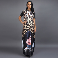 H D African Dresses New Blossom Leopard Skirt Face Digital Positioning Printing Long Dress Loose Large
