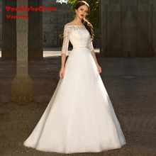 BacklakeGirls Real Custom Made A Line Bride Dresses Half Sleeves Beaded Lace Wedding Dress 2017