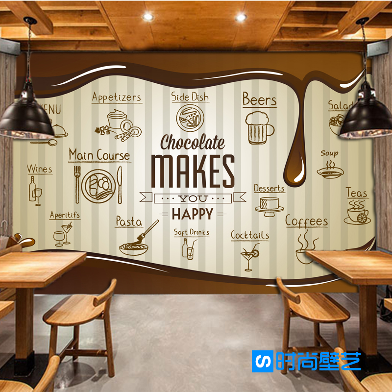 Free Shipping food style wallpaper restaurant Bar Cafe Snack shop KTV sofa background chocolate decoration wallpaper mural 3 head 304 stainless steel french fry holder creative restaurant and bar snack snack ktv for food display stand