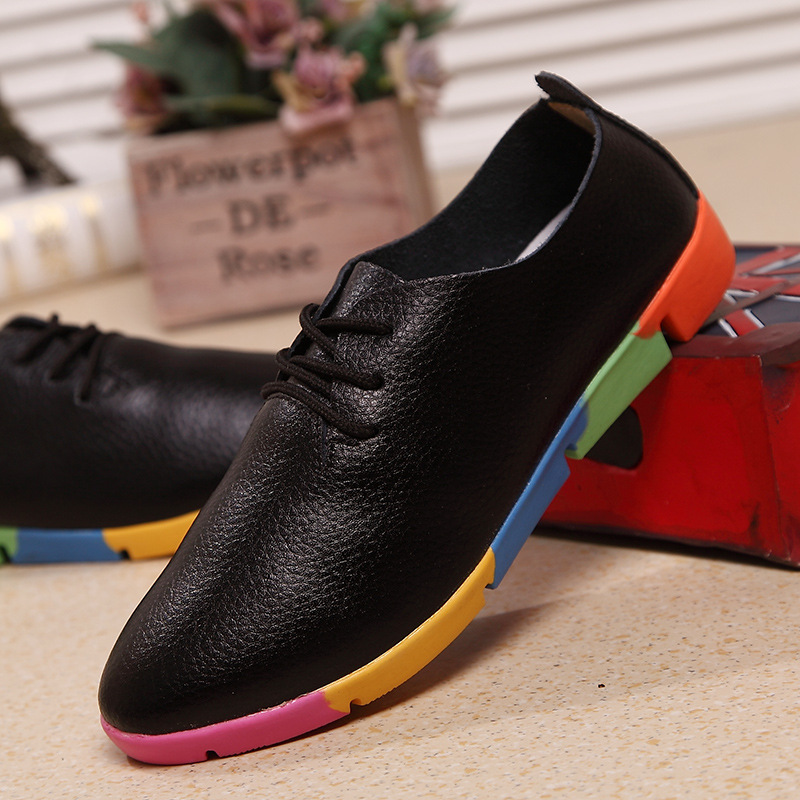 Women leather flats shoes sneakers