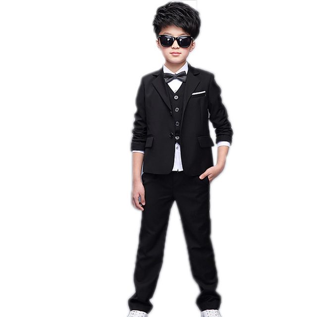 Boy Formal Suit 5PCS SET Tie+vest +top+jacket+pant Gentlemen Boys Suits  Weddings Kids Prom Suits Boy Tuexdo Children Clothes Set 52ee02559