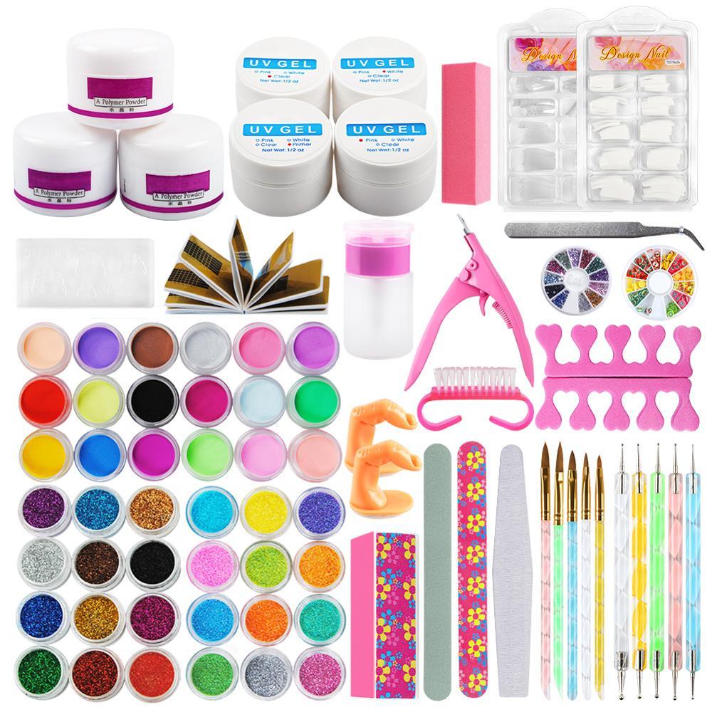 Nail Art Tools Kit Professional UV Gel Finger Extension Nail Burshes Acrylic Powder 42Pcs Powder Glitter Nail Decoration Tip Kit