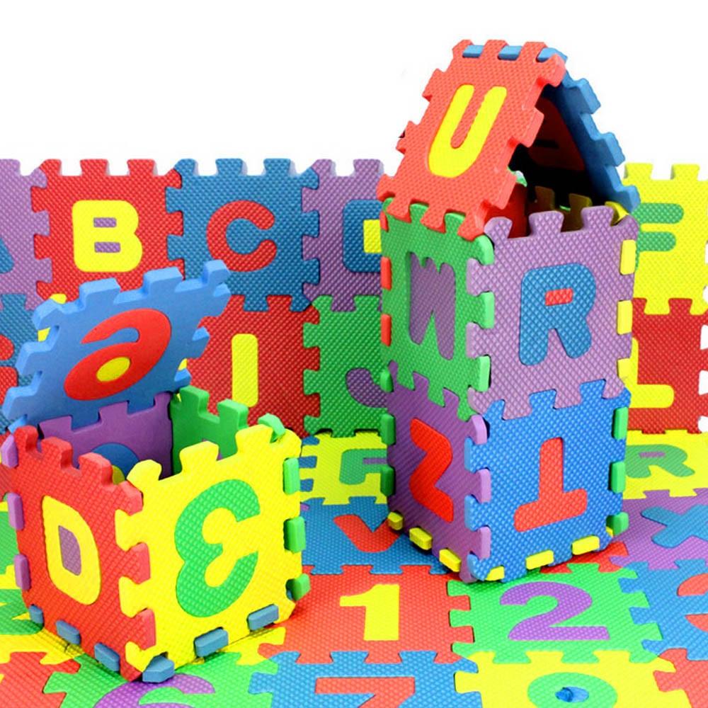 36Pcs ABC Flashcards Baby Child Number Alphabet Puzzle Foam Maths Educational Toy Gift Whole Pack Foam Mat Toy HOOLER