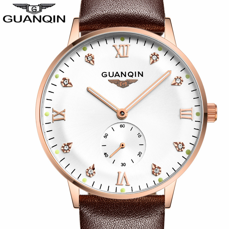 Men Automatic Mechanical Wristwatch Top Brand GUANQIN Watch Men Fashion Luminous Clock Male leather strap Waterproof Watches men fashion top brand watch men automatic mechanical wristwatch stainless steel waterproof luminous male clock relogio masculino 46