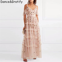 Top Quality New 2019 Summer Brand Runway Dress Women Tulle Mesh Embroidery Flowers Long Maxi Beach Boho Vacation Dress