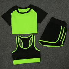 New Summer Women Sports Fitness Suit Ladies Gym Outdoor Household Running Yoga Clothes Three PCS/set Quick Drying