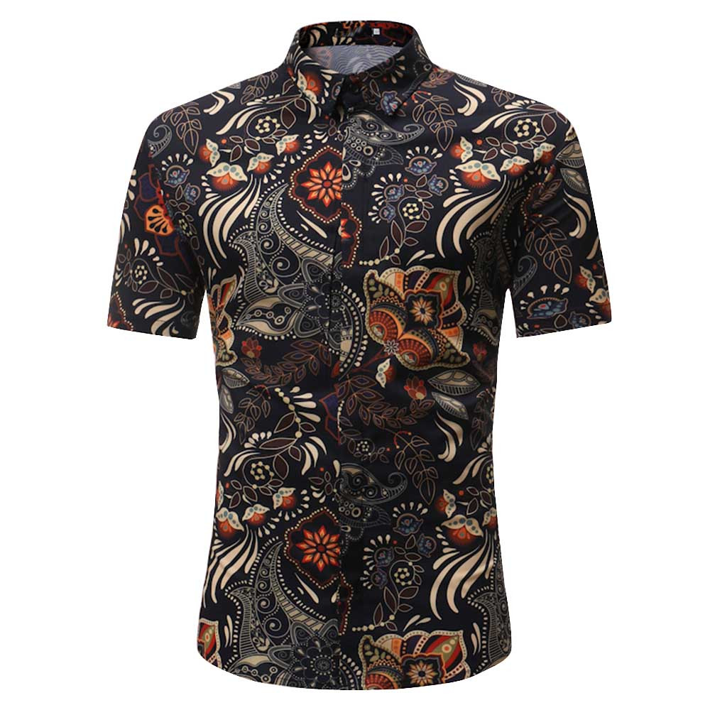 Personality Men's Casual Slim Short Sleeve Printed Shirt Top Blouse   Polo   Shirt Men's Short Sleeve Slim Fit Tops