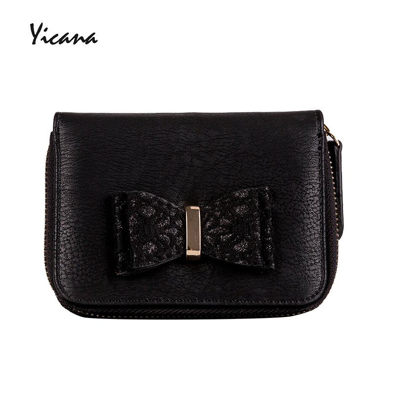 Бесплатная доставка yicana Винтаж из искусственной кожи Для женщин бумажник короткий стиль лук кошелек