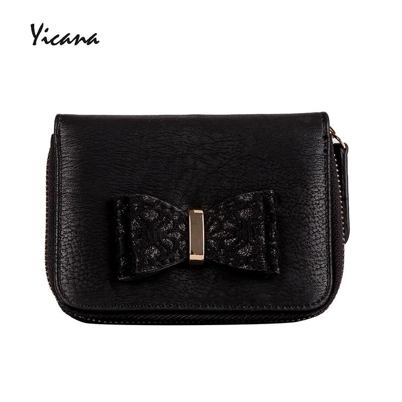 Yicana kort stil Pu Läder Kvinnor plånbok vintage populära svart - Plånböcker - Foto 1