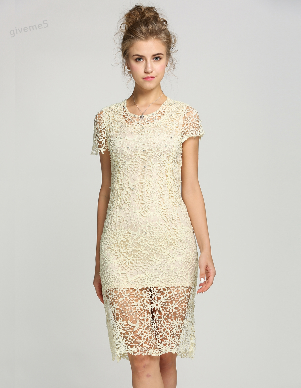 Compare prices on straight bridesmaid dresses online shoppingbuy top quality elegant womens floral crochet lace pearl beaded bridesmaid party mini dress gown 51 ombrellifo Choice Image