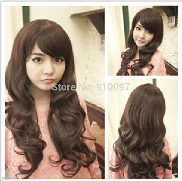 LHX32036P&P>2014 new long wavy brown wig carnival fashion cute lady wig peruca hair queen lady's