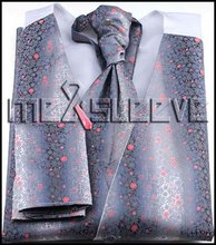 dress/Bridal Tuxedos man's polyester waistcoat 4pcs(vest+ascot tie+cufflinks+handkerchief)