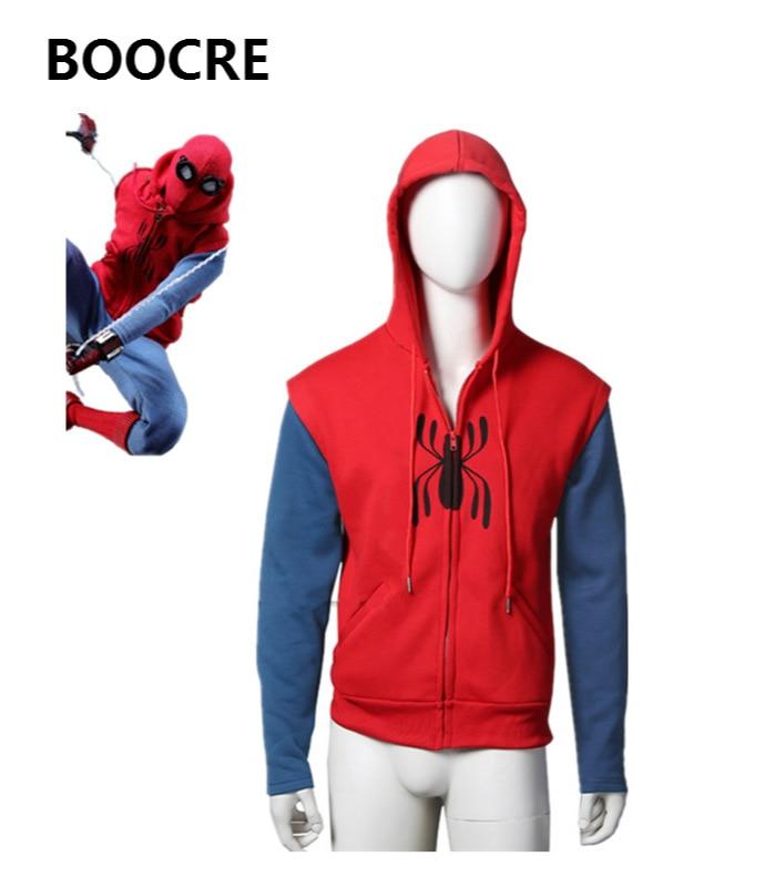 2017 New Spiderman Homecoming Hoodies Spiderman Peter Parker Zipper Hooded Sweater Sweatshirt Jacket Halloween Cosplay Costume