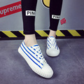 Women Casual Canvas Shoes Flat Platform Summer Shoes stripe Slip On Women Casual Canvas Shoes Basket Trainers Brand Creepers
