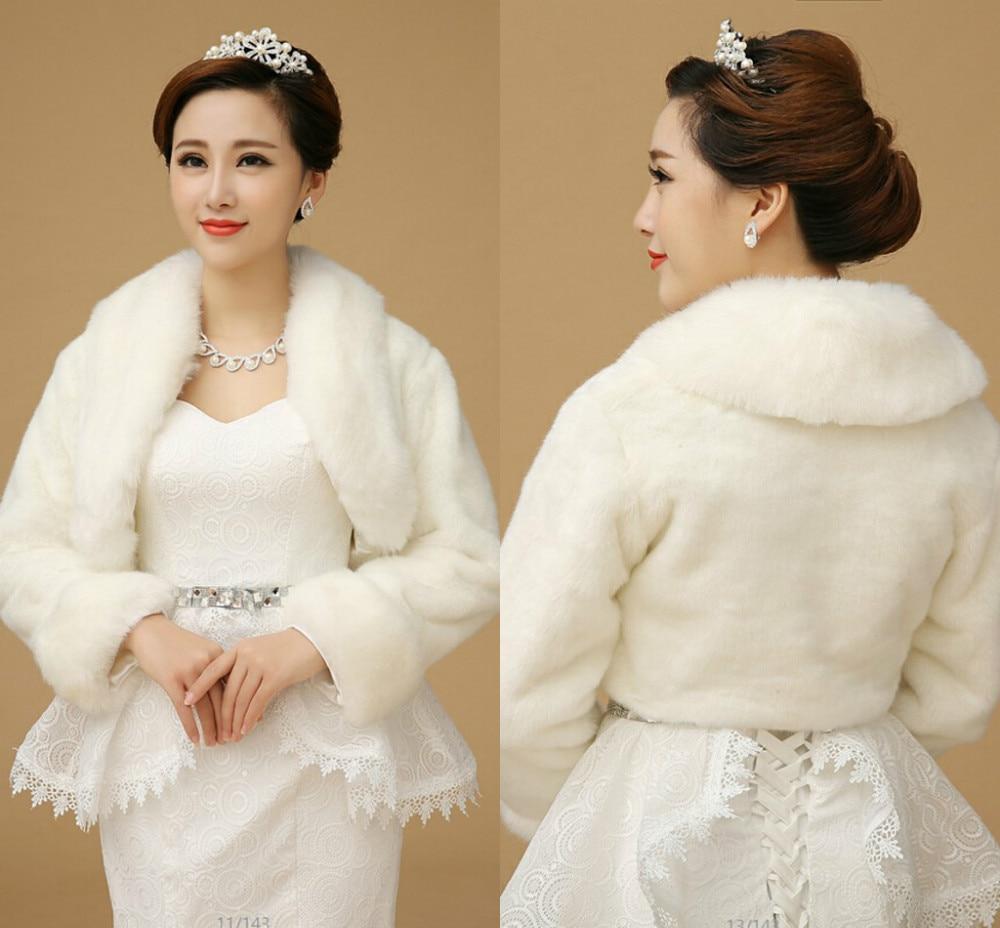 Faux Fur chales abrigo de invierno manga marfil accesorios de boda ...